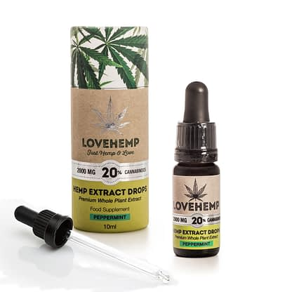Love Hemp CBD Hemp Oil - 2000mg 20% CBD (10ml) Natural or Peppermint