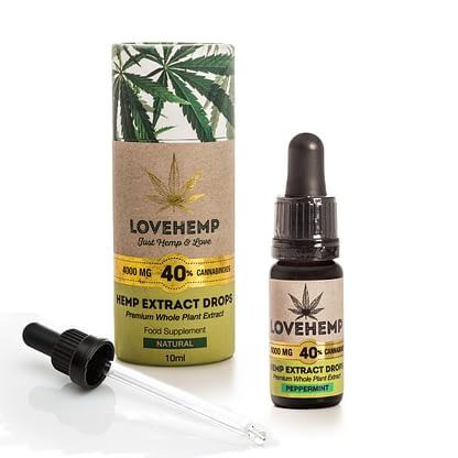 Love Hemp CBD Hemp Oil - 4000mg 40% CBD (10ml) Natural or Peppermint